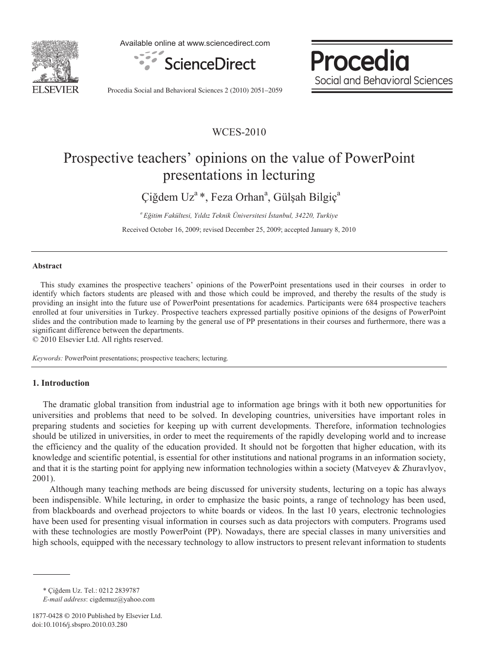 Prospective teachers' opinions on the value of PowerPoint