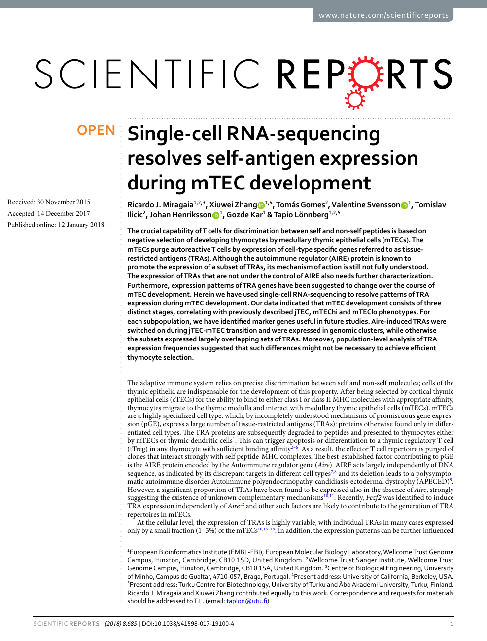 Single-cell RNA-sequencing resolves self-antigen expression