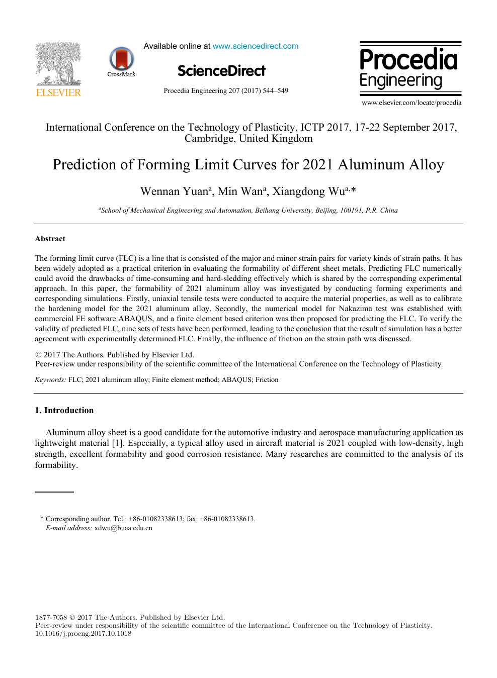 Prediction of Forming Limit Curves for 2021 Aluminum Alloy – topic
