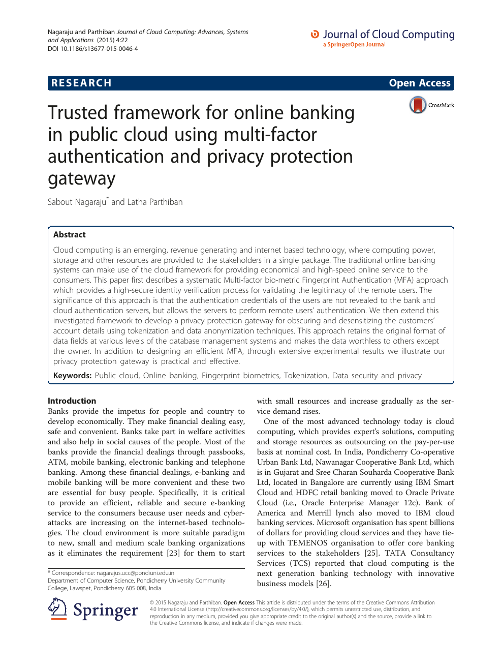 Trusted framework for online banking in public cloud using