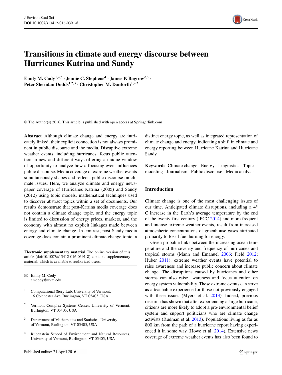 Transitions in climate and energy discourse between