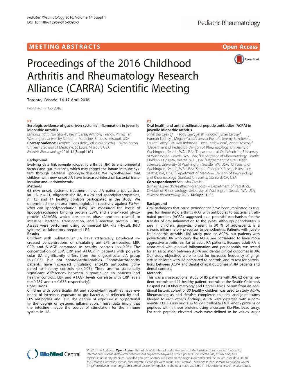 Proceedings of the 2016 Childhood Arthritis and Rheumatology