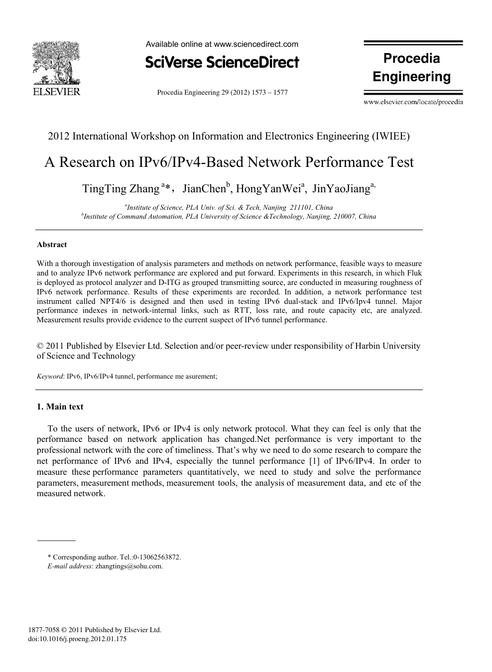 A Research on IPv6/IPv4-Based Network Performance Test