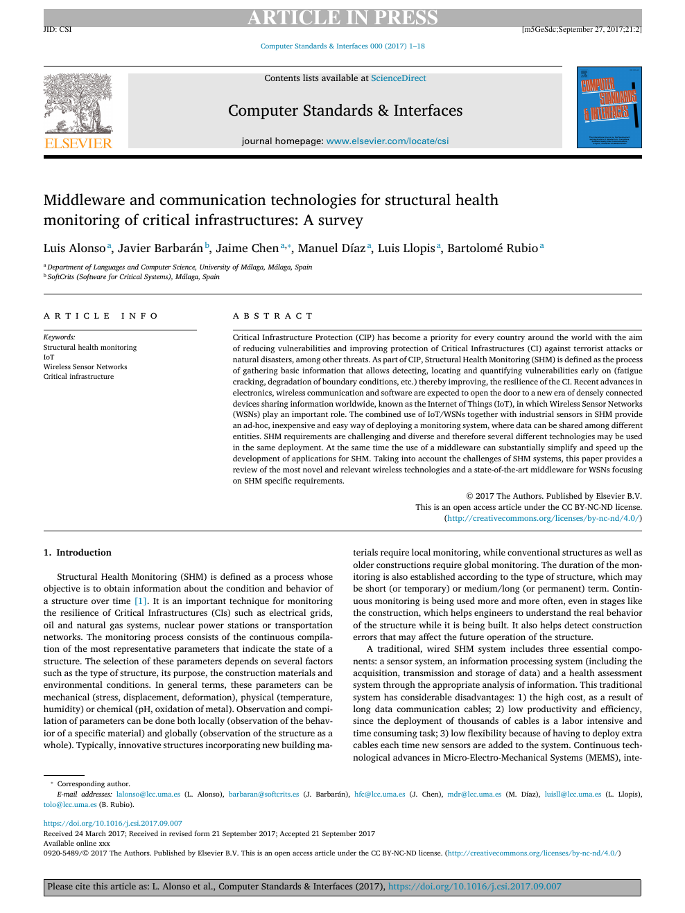 Middleware and communication technologies for structural health