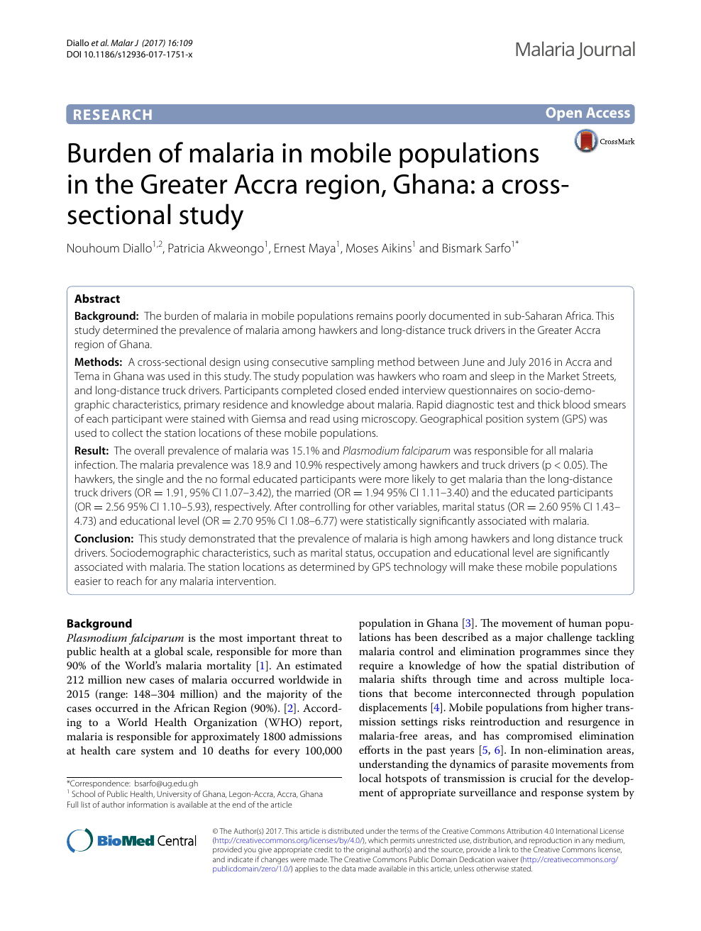 prevalence of malaria among under five pdf
