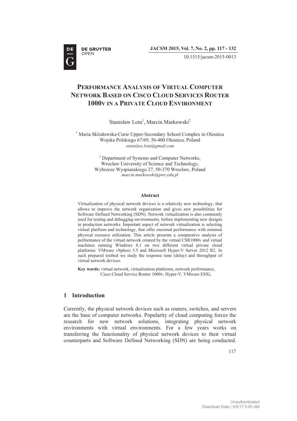 Performance Analysis of Virtual Computer Network Based on