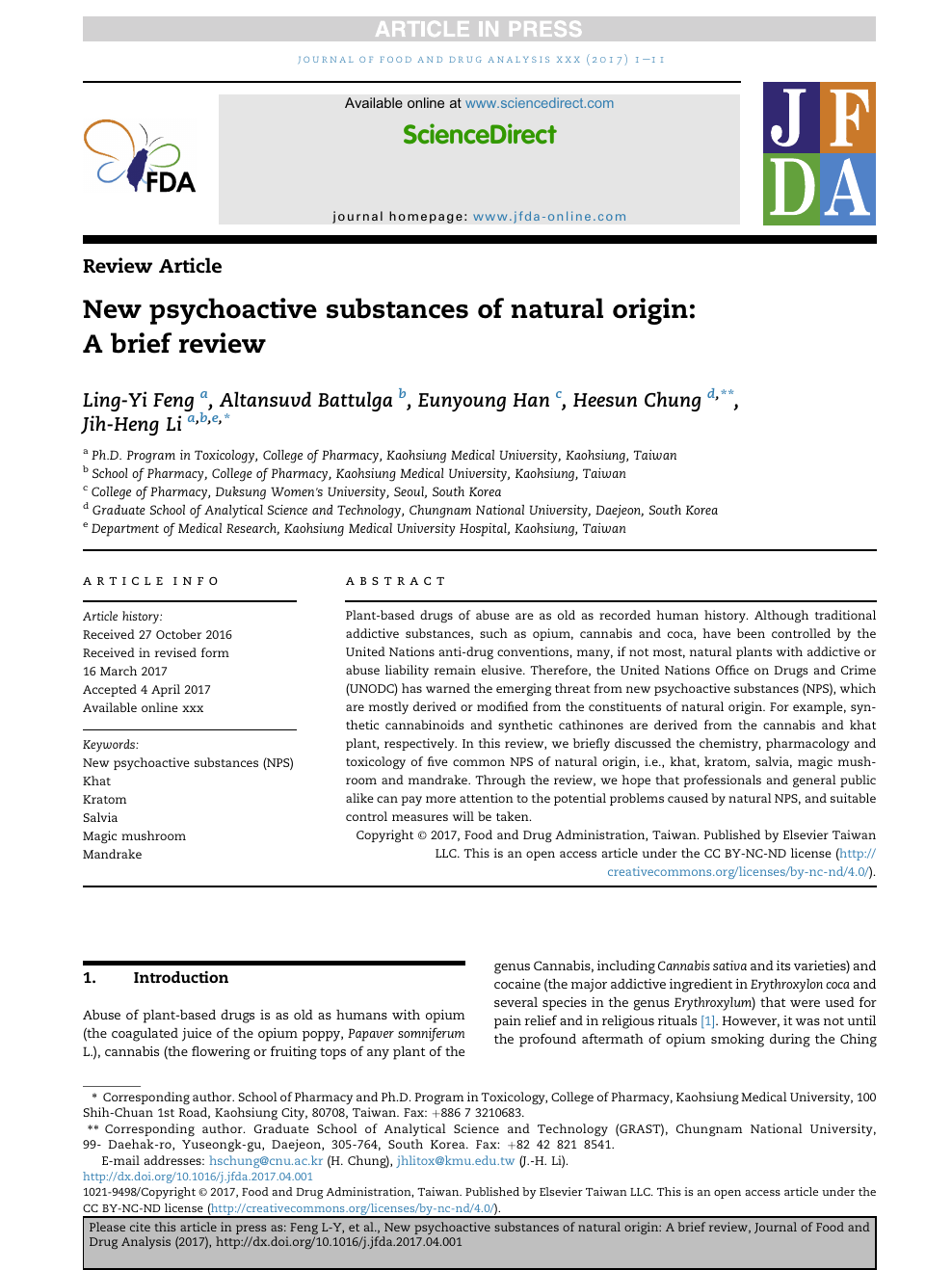 New psychoactive substances of natural origin: A brief