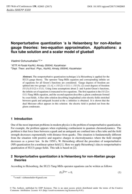 Nonperturbative quantization 'a la Heisenberg for non