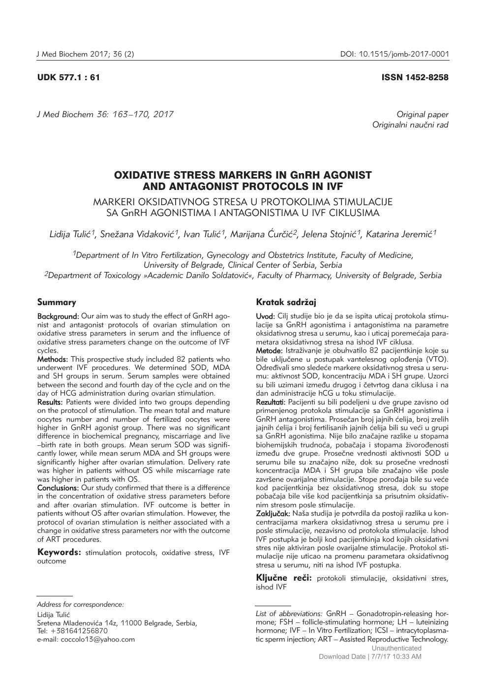 Oxidative Stress Markers in GnRH AgonistaAnd Antagonist