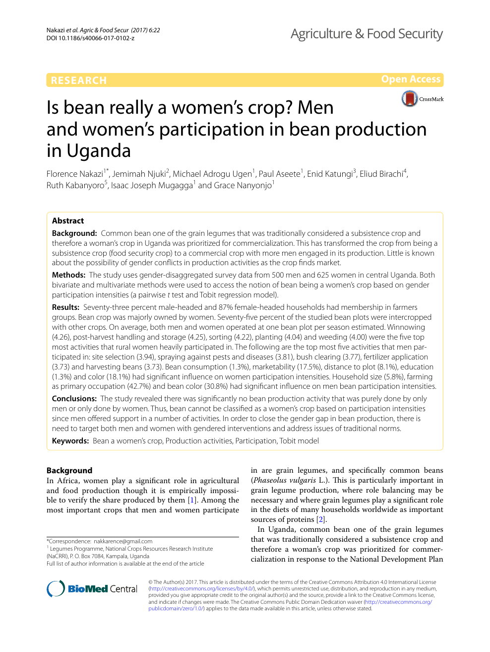 Is bean really a women's crop? Men and women's participation