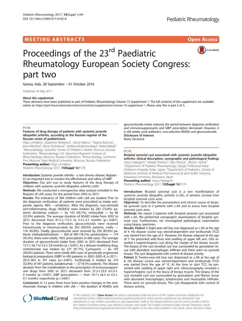 Proceedings of the 23rd Paediatric Rheumatology European