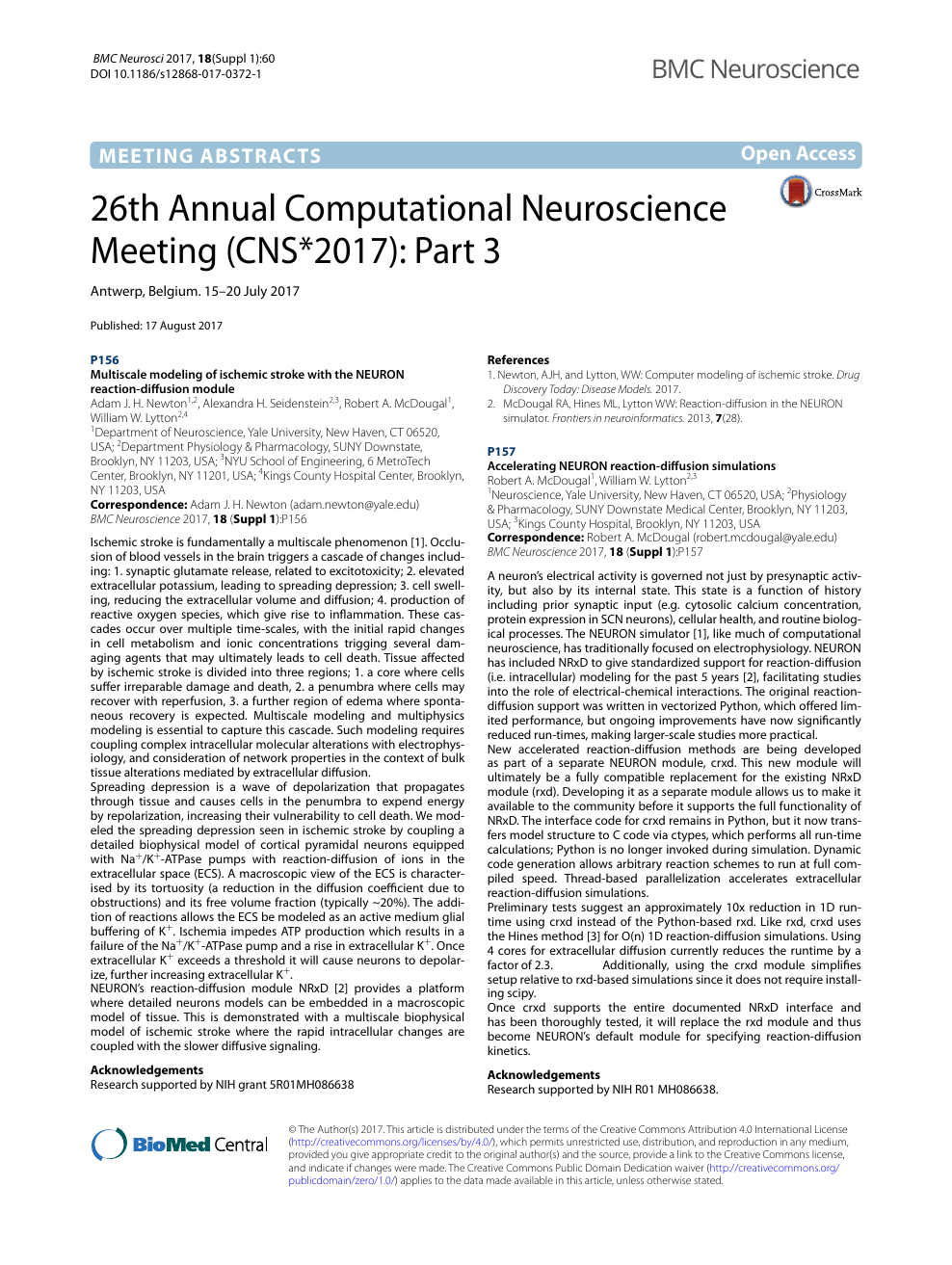 26th Annual Computational Neuroscience Meeting (CNS*2017