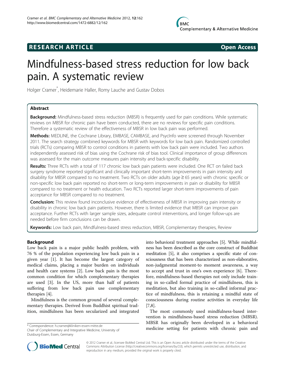Mindfulness-based stress reduction for low back pain  A systematic