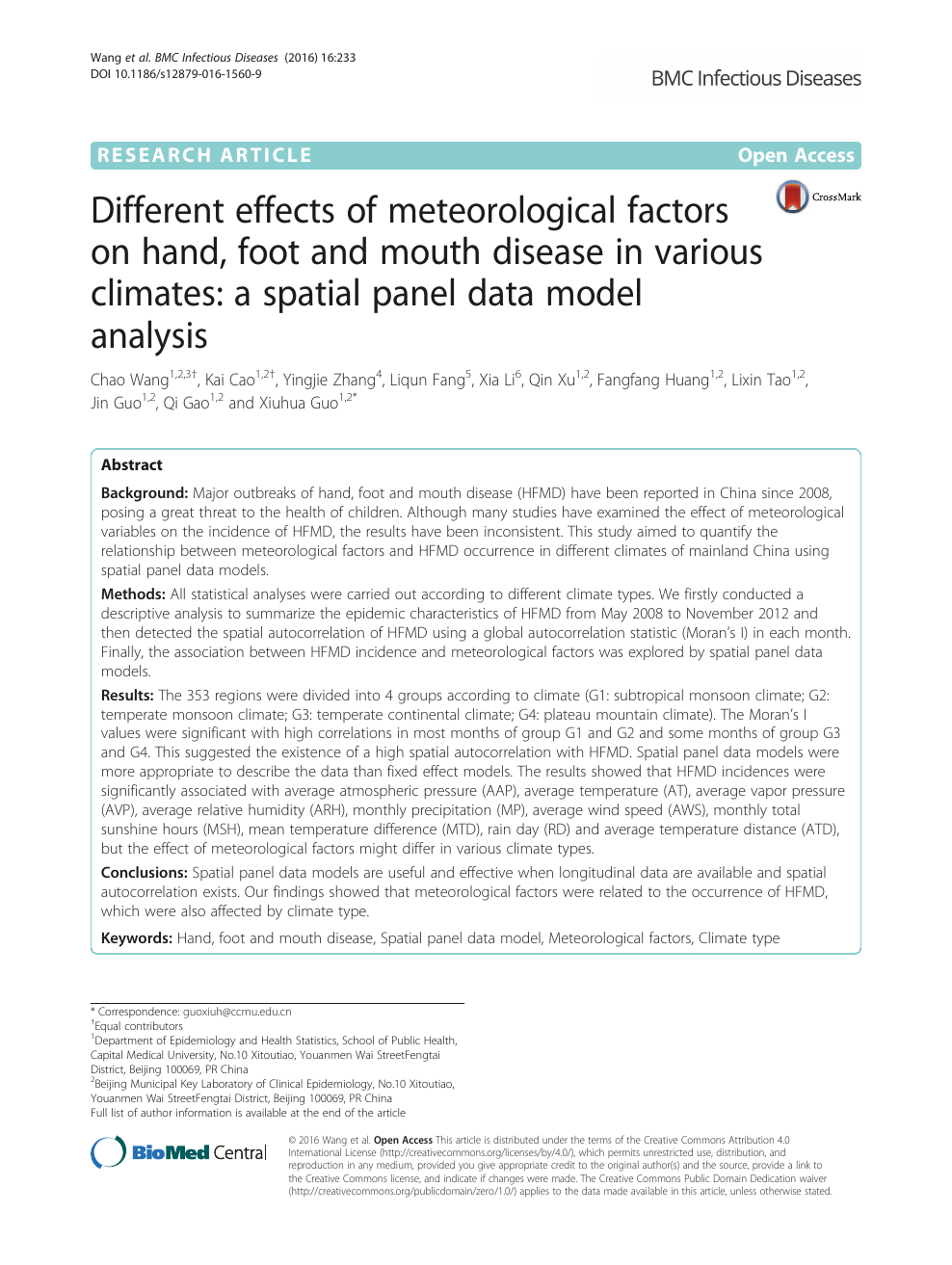 Different effects of meteorological factors on hand, foot