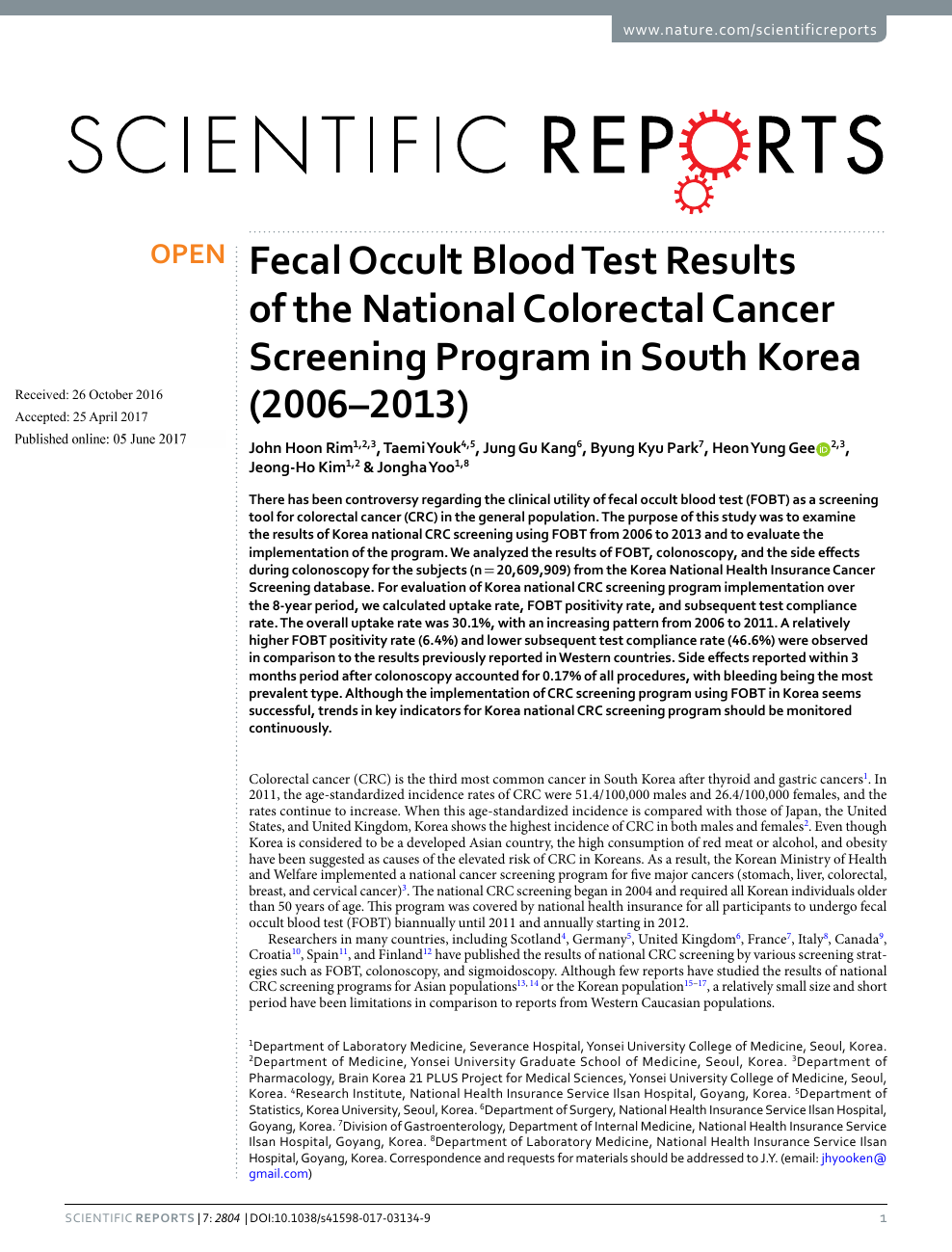 Fecal Occult Blood Test Results Of The National Colorectal Cancer Screening Program In South Korea 2006 2013 Topic Of Research Paper In Health Sciences Download Scholarly Article Pdf And Read For Free