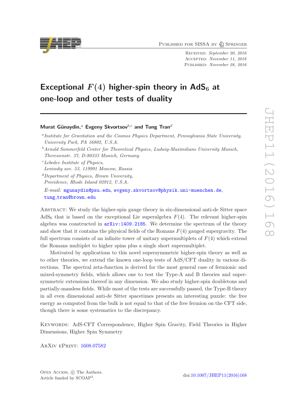 Exceptional F 4 Higher Spin Theory In Ads6 At One Loop And Other Tests Of Duality Topic Of Research Paper In Physical Sciences Download Scholarly Article Pdf And Read For Free On Cyberleninka