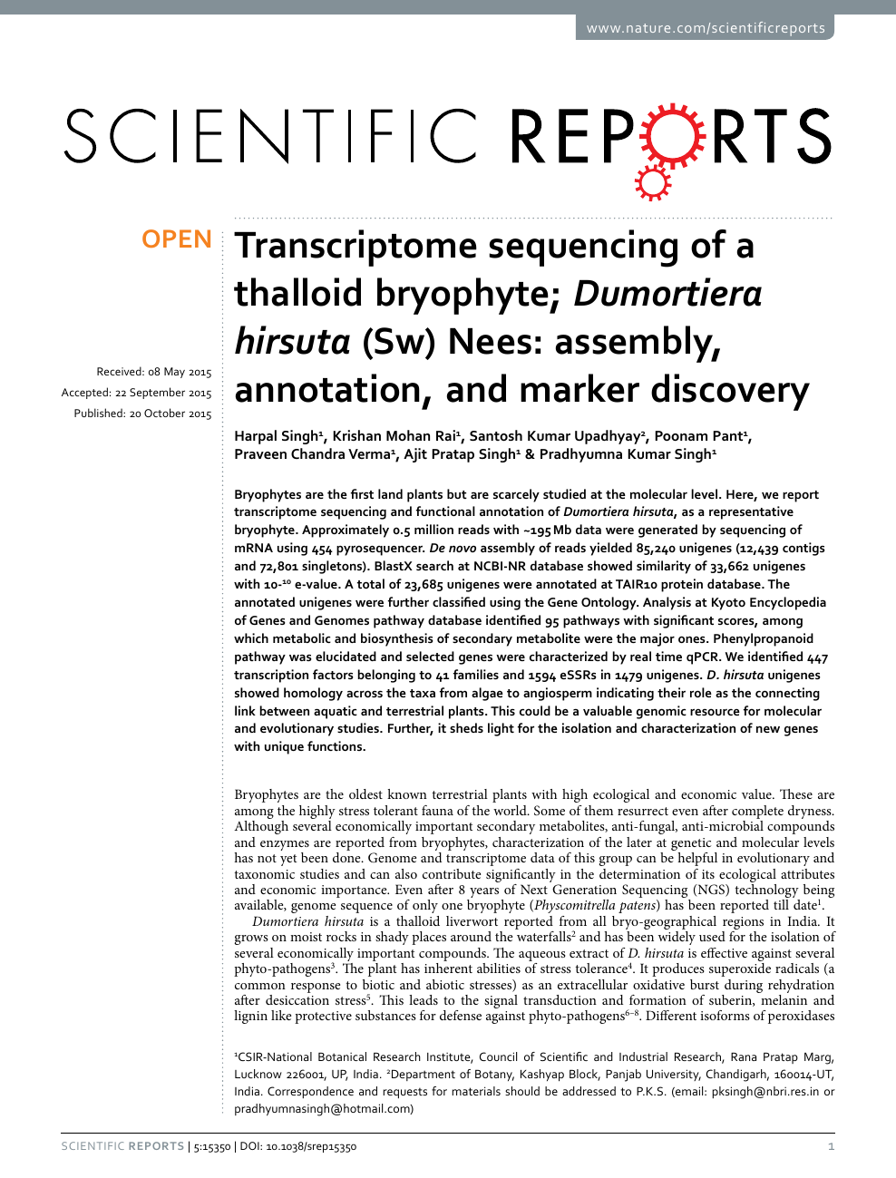 Transcriptome sequencing of a thalloid bryophyte