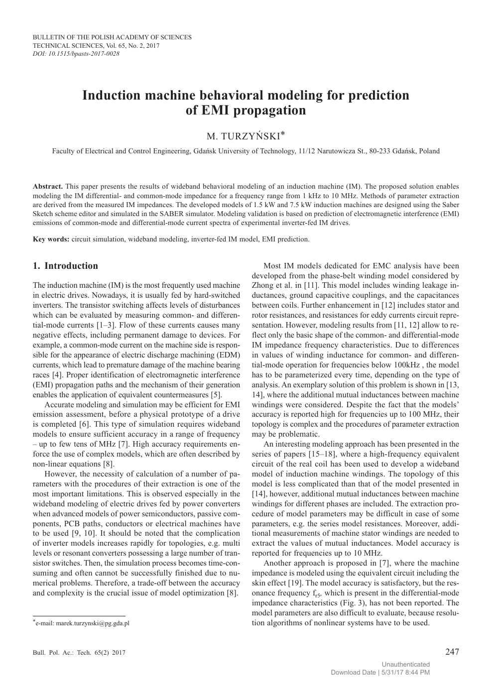 Induction machine behavioral modeling for prediction of EMI