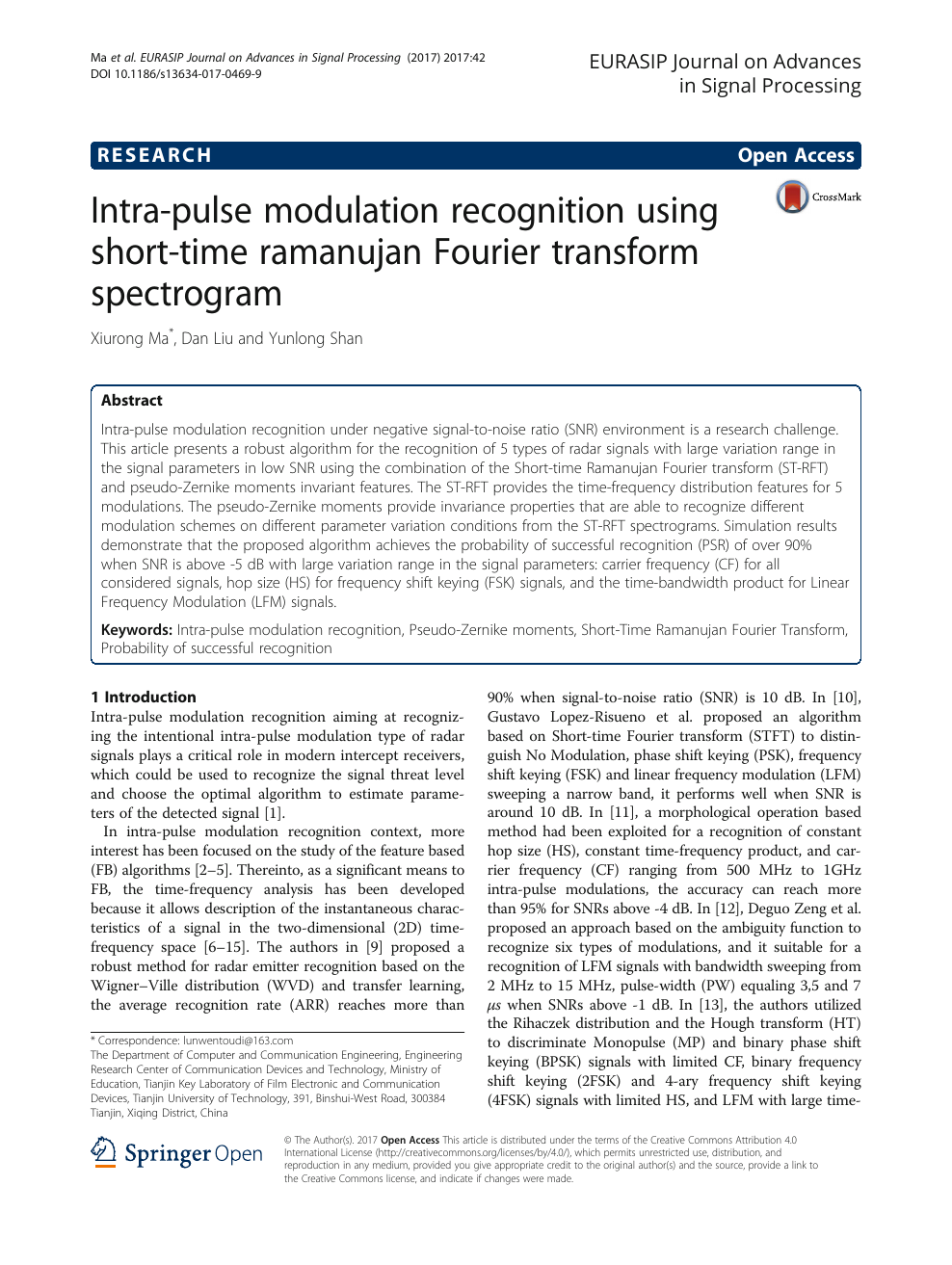 Intra-pulse modulation recognition using short-time