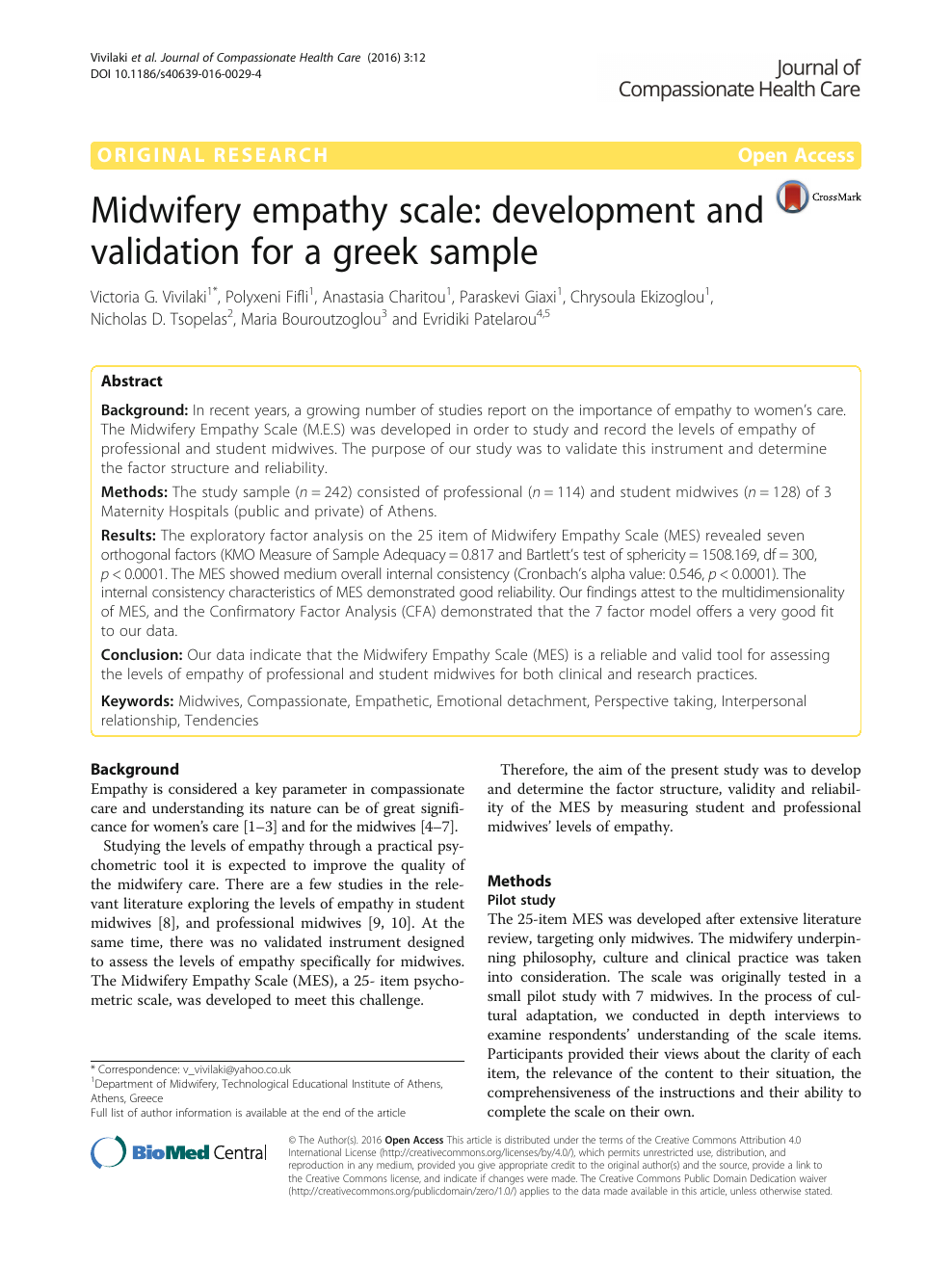 Midwifery empathy scale: development and validation for a