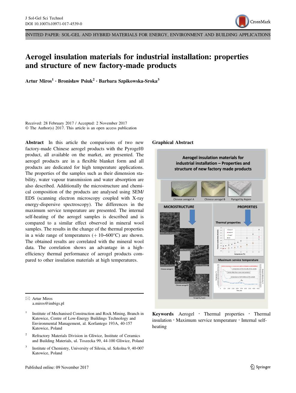 Aerogel insulation materials for industrial installation: properties