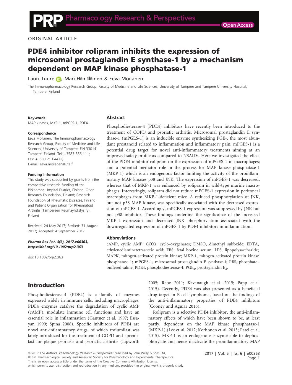 PDE4 inhibitor rolipram inhibits the expression of ... on