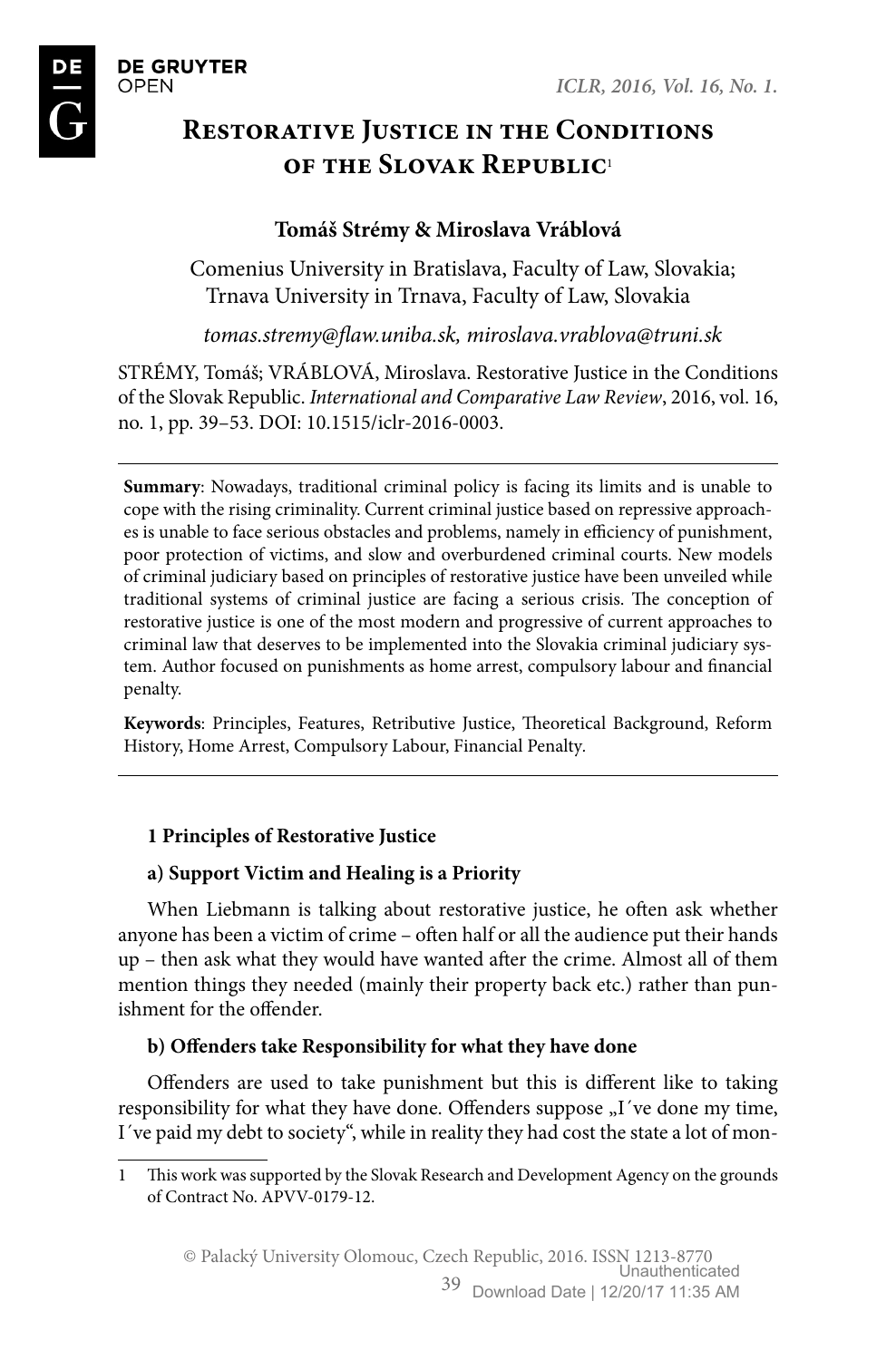 Restorative Justice in the Conditions of the Slovak Republic – topic