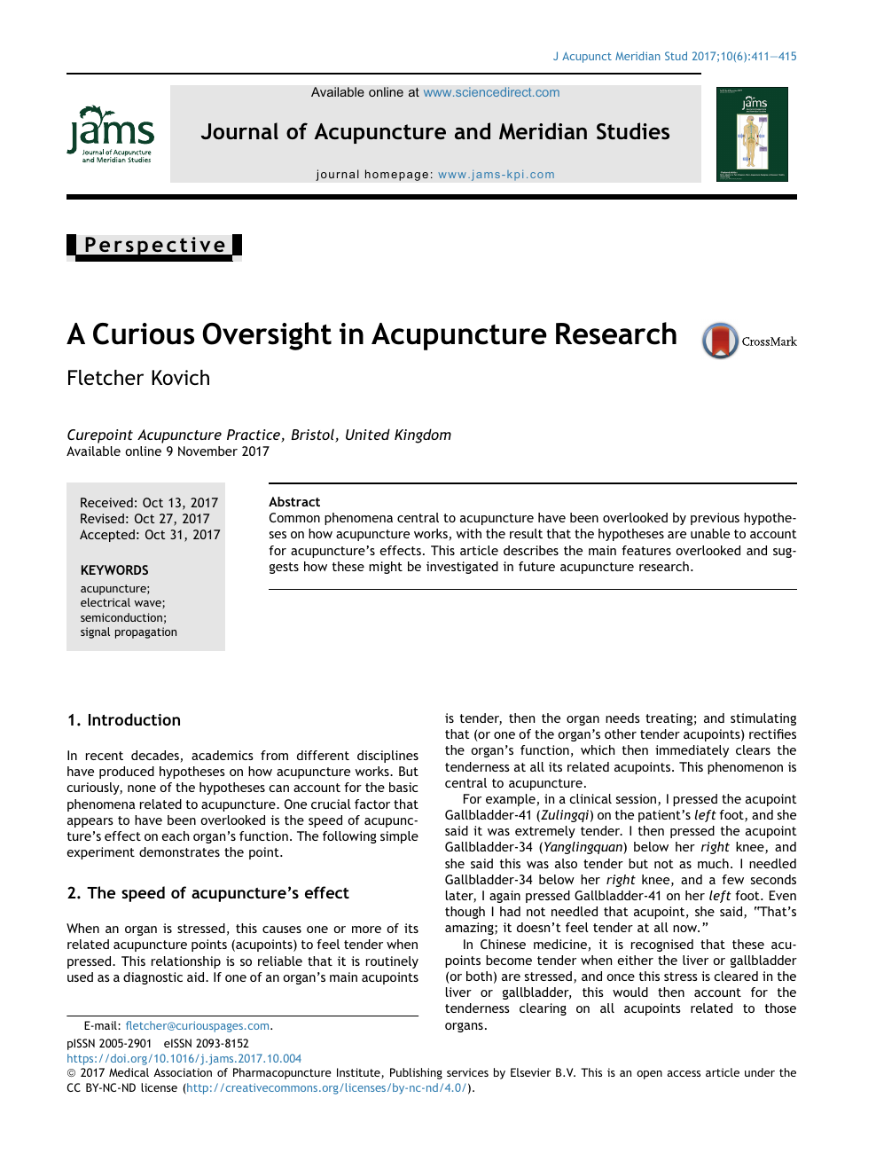 A Curious Oversight in Acupuncture Research – topic of
