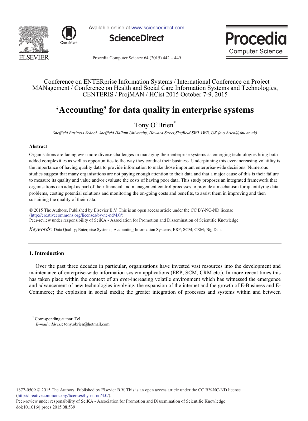 Accounting' for Data Quality in Enterprise Systems – topic