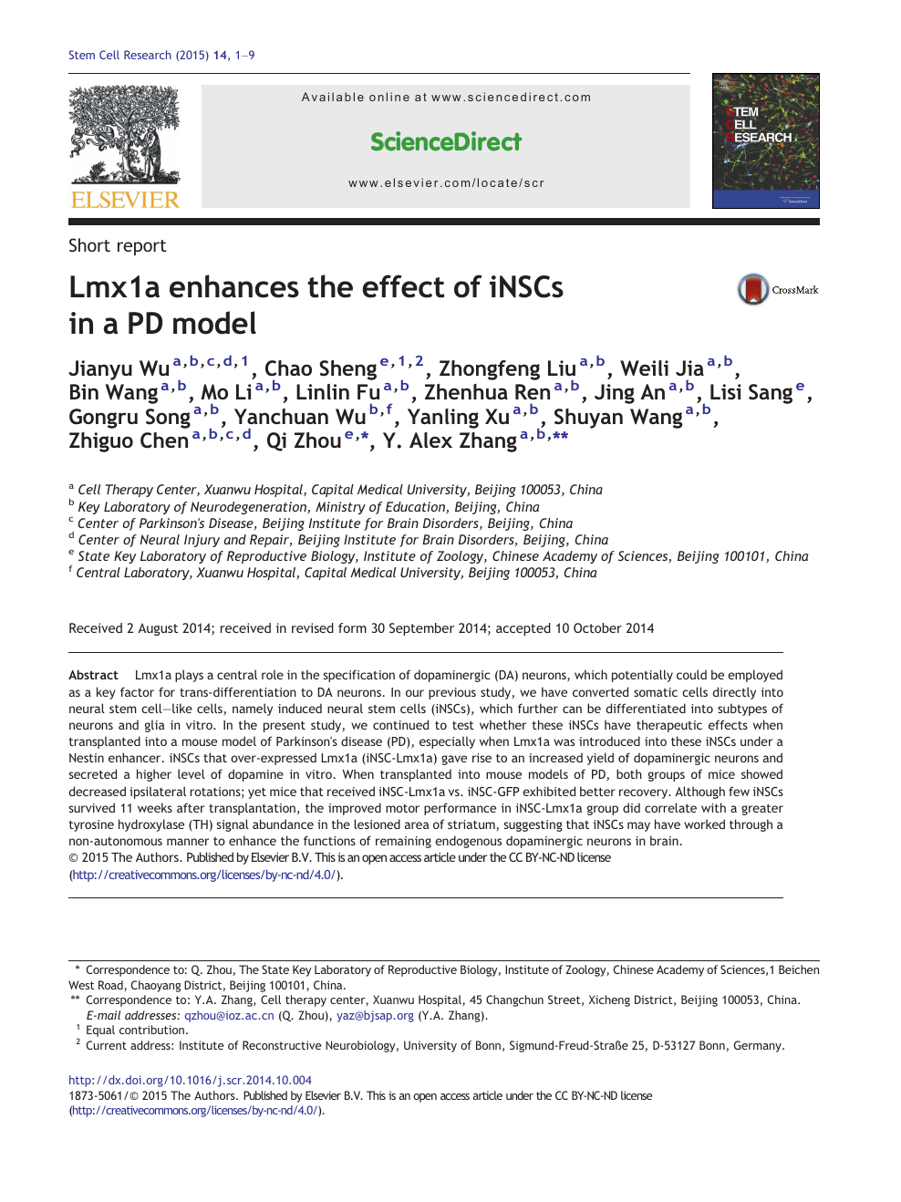 Lmx1a enhances the effect of iNSCs in a PD model – topic of