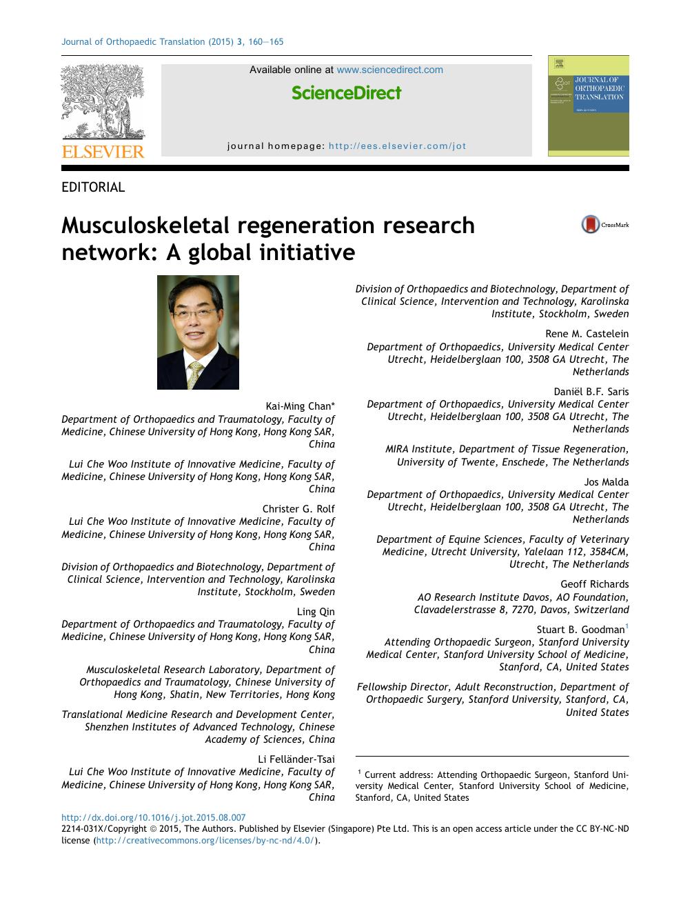 Musculoskeletal regeneration research network: A global