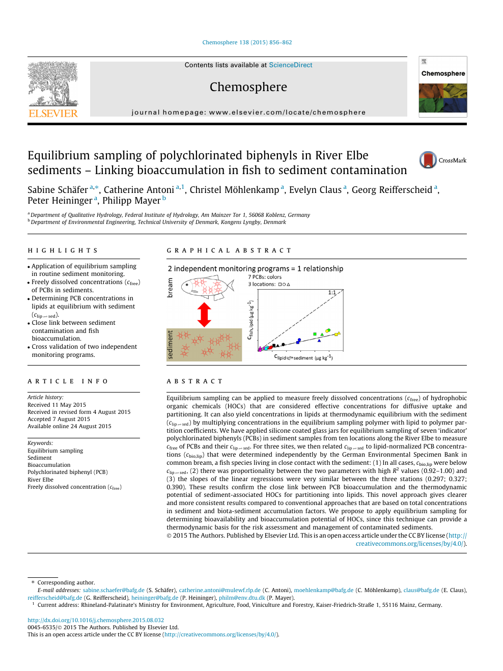 Equilibrium sampling of polychlorinated biphenyls in River Elbe