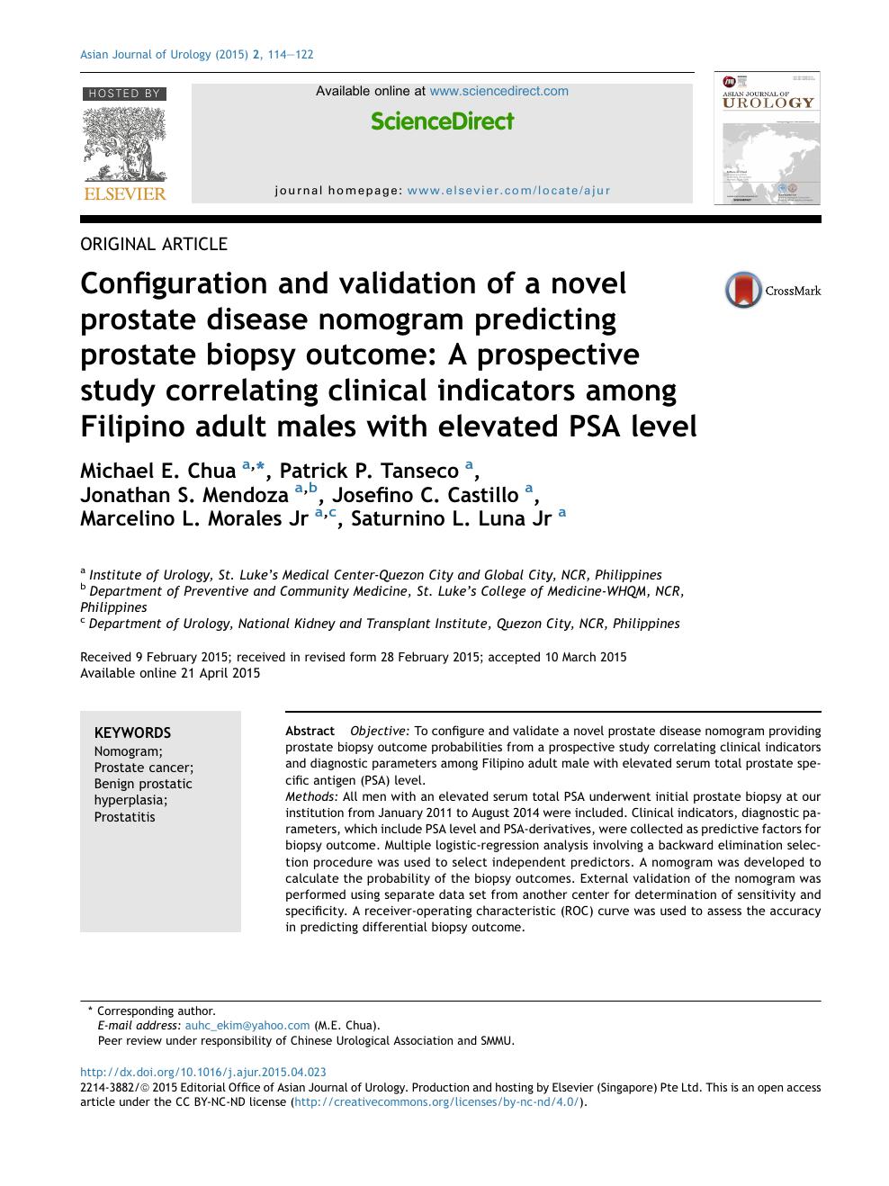Configuration and validation of a novel prostate disease nomogram