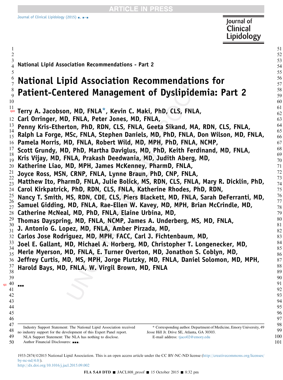 National Lipid Association Recommendations for Patient