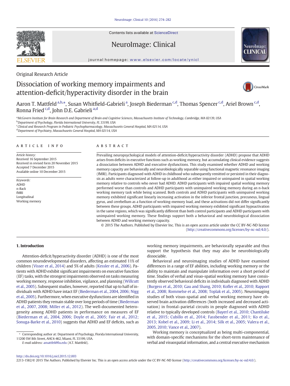 Dissociation of working memory impairments and attention-deficit