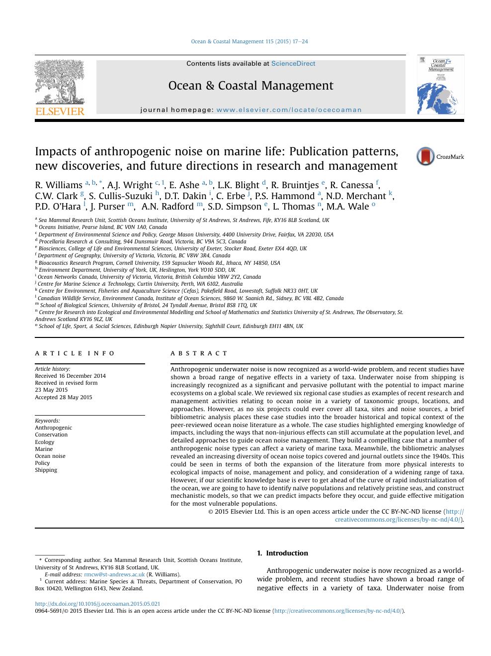 Impacts of anthropogenic noise on marine life: Publication