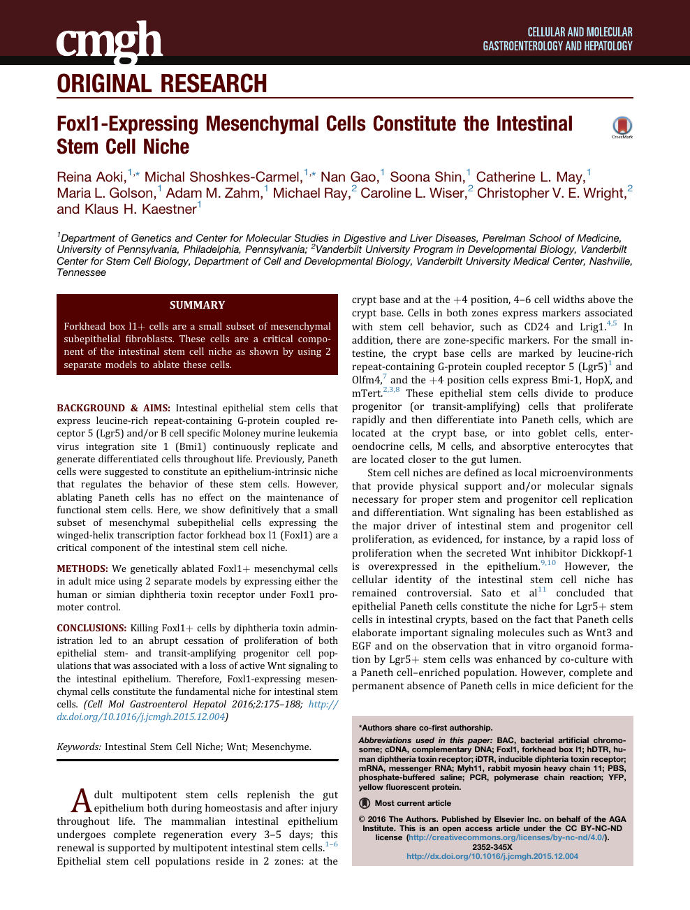 Foxl1-Expressing Mesenchymal Cells Constitute the Intestinal