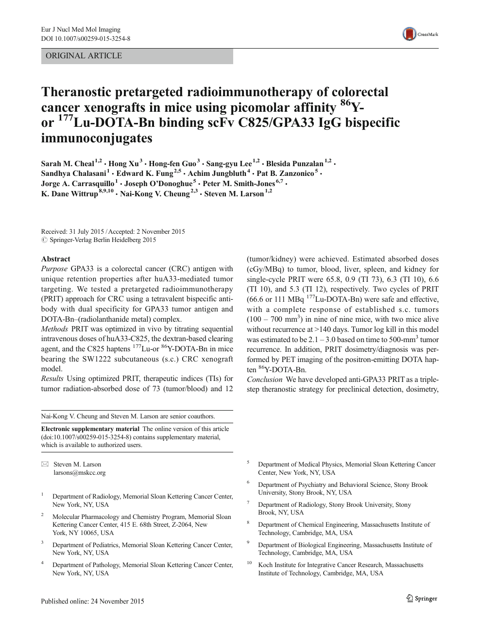 Theranostic Pretargeted Radioimmunotherapy Of Colorectal Cancer Xenografts In Mice Using Picomolar Affinity 86y Or 177lu Dota Bn Binding Scfv C825 Gpa33 Igg Bispecific Immunoconjugates Topic Of Research Paper In Clinical Medicine Download Scholarly