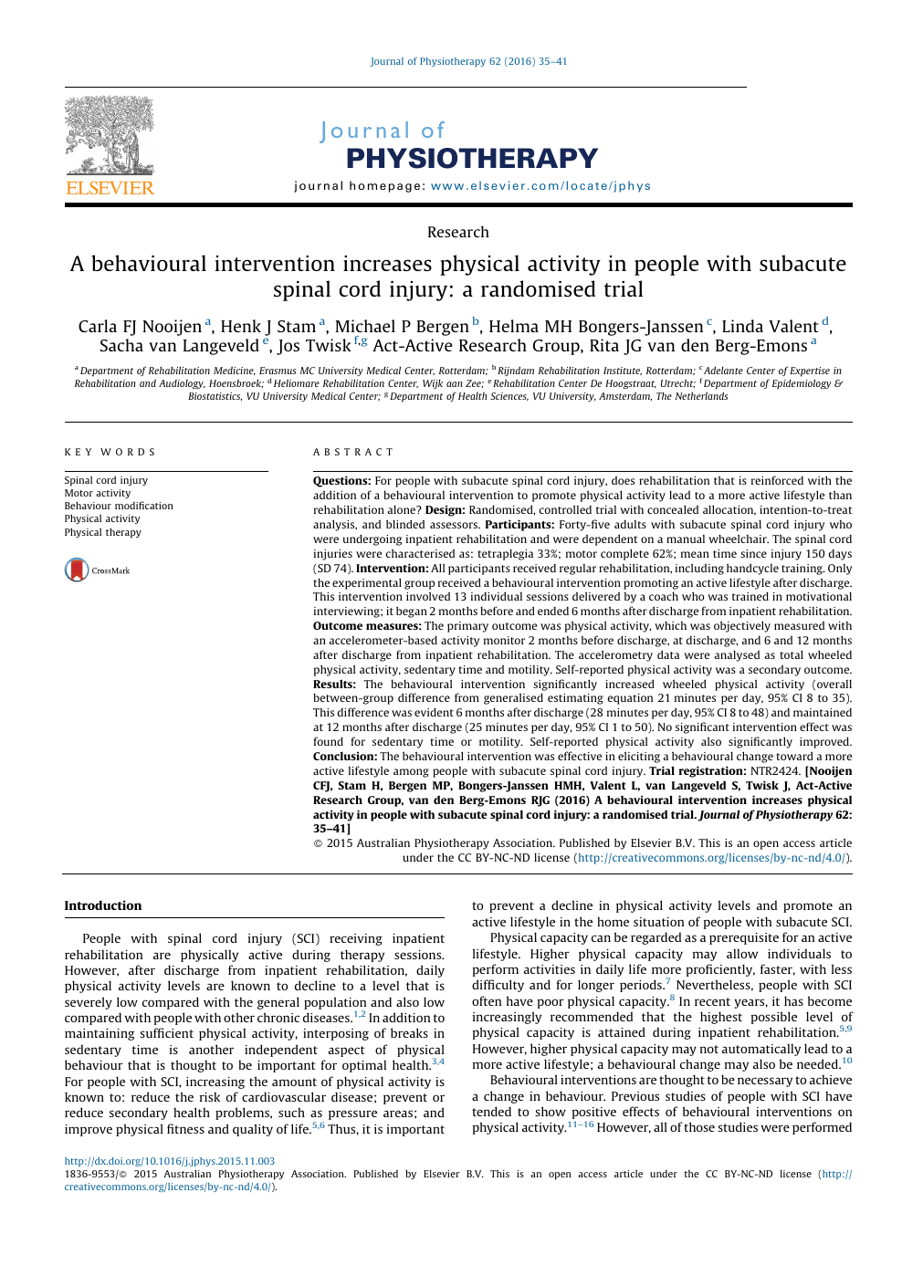 A behavioural intervention increases physical activity in