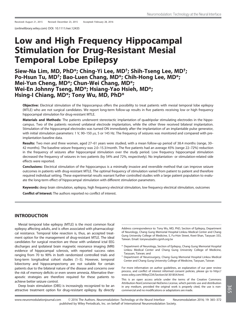 Low and High Frequency Hippocampal Stimulation for Drug-Resistant