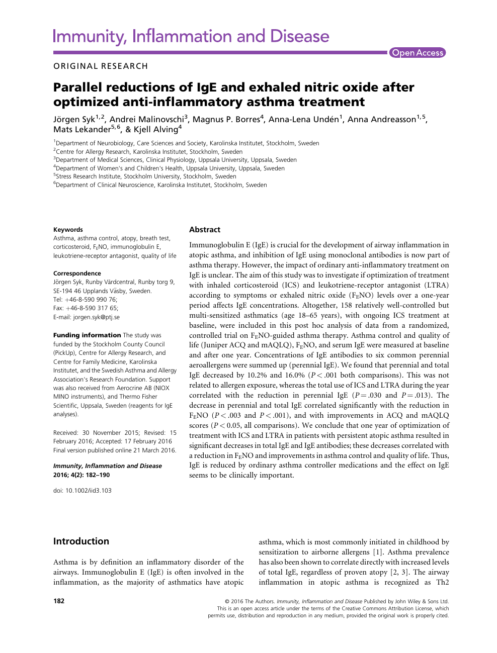 Parallel Reductions Of Ige And Exhaled Nitric Oxide After Optimized Anti Inflammatory Asthma Treatment Topic Of Research Paper In Biological Sciences Download Scholarly Article Pdf And Read For Free On Cyberleninka Open