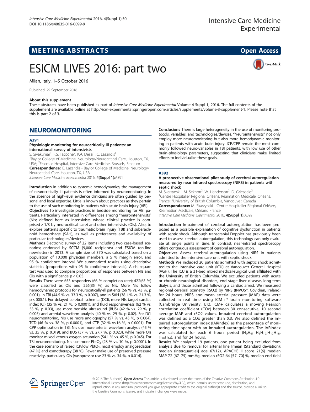 ESICM LIVES 2016 Part Two – Topic Of Research Paper In