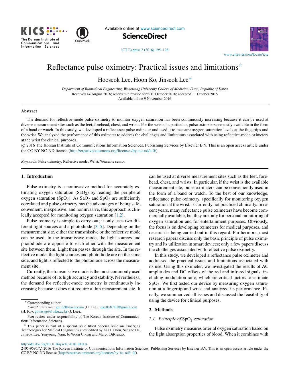 Reflectance pulse oximetry: Practical issues and limitations – topic