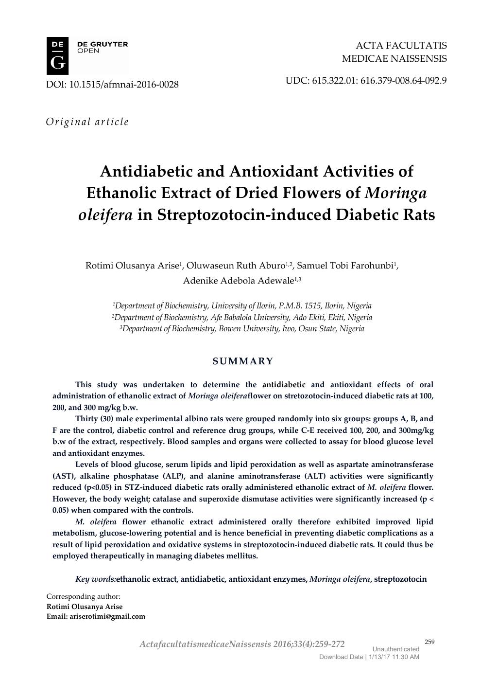 Antidiabetic and Antioxidant Activities of Ethanolic Extract of