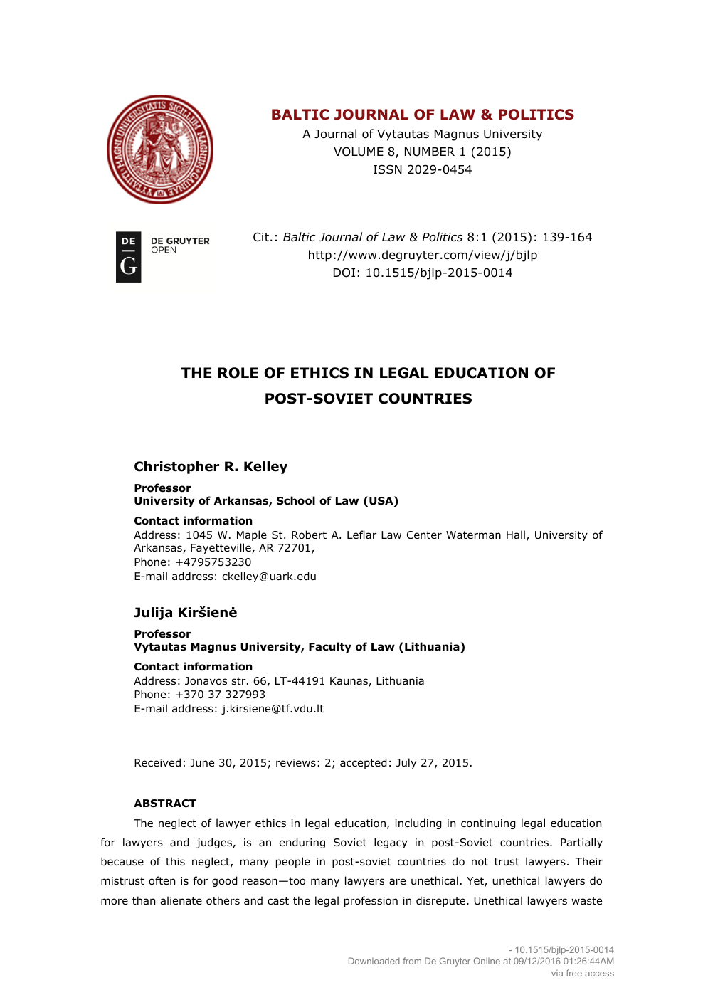 The Role Of Ethics In Legal Education Post Soviet Countries