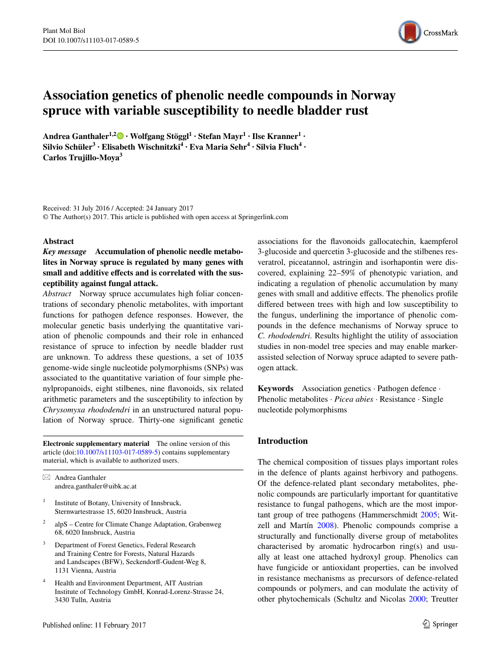 Association genetics of phenolic needle compounds in Norway