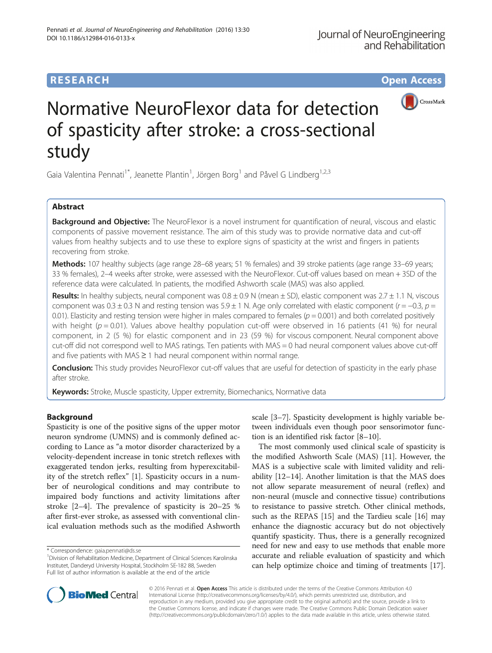 Normative NeuroFlexor data for detection of spasticity after