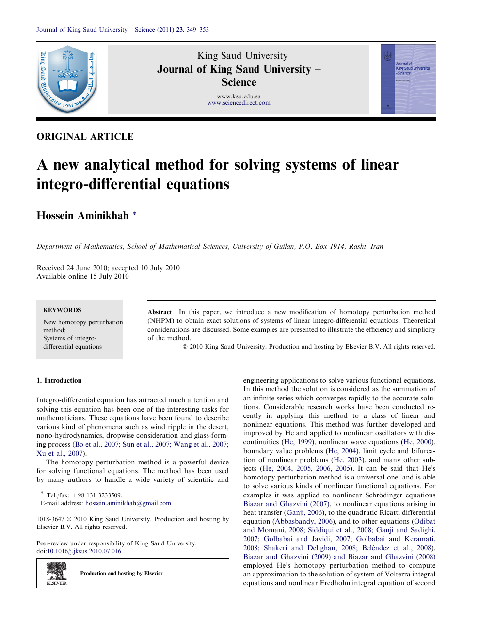 A new analytical method for solving systems of linear