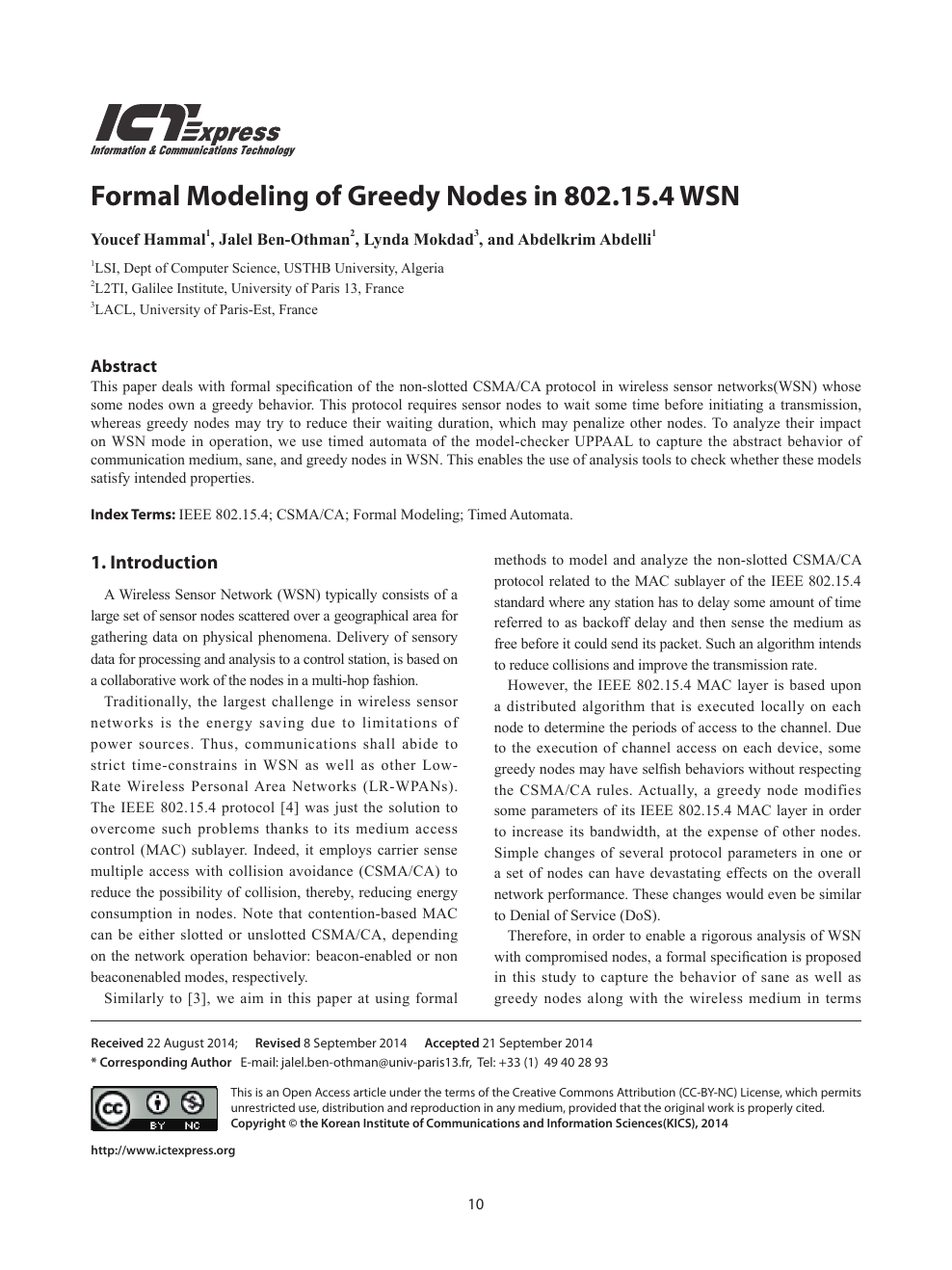Formal Modeling of Greedy Nodes in 802 15 4 WSN – topic of research