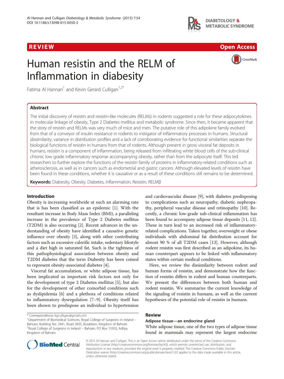 Human resistin and the RELM of Inflammation in diabesity